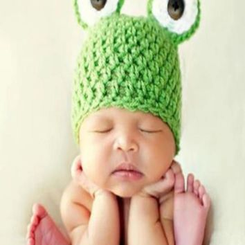 Newborn Baby Knitted Frog Head Beanie Costume Hat