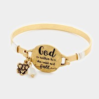 """""""God is Within Her."""" Gold Plated Hook Bracelet"""