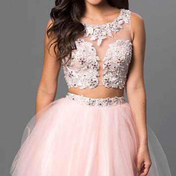 Two Piece Babydoll Dress with Lace Embellished Sheer Bodice by Dave and Johnny