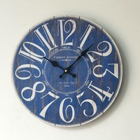 Blue Innovative Weathered Wall Sticker Home Decor Clock [6451857030]