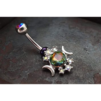 Silver Sun and Moon Belly Button Ring