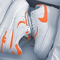 Onewel Nike Air Force 1 AF1 Low-Top Joker Flat Sneakers Shoes Color Add to edge Orange