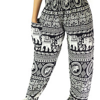 black elephant pants boho clothing hippie pants one size fits all strenchy pants /harem pants/boho pants/pantalon thai