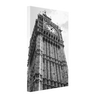 Black and White Big Ben From Below Canvas Print