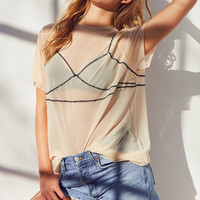 Out From Under Illusion Mesh Tee Slip   Urban Outfitters