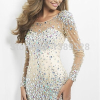 Dazzling Crystal Sheath Cocktail Party Dress 2015 Sexy Beads Backless Tulle Short Mini Long Sleeves Women Gowns