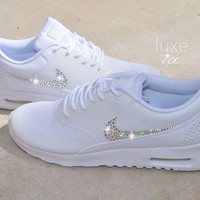 Nike Air Max Thea - White Blinged with SWAROVSKI® Xirius Rose-Cut Crystals.