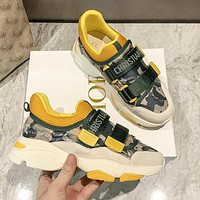 DIOR 2021 latest casual d-wonder sneakers Shoes Camouflage green