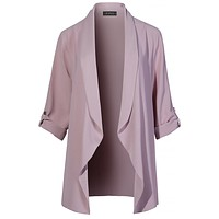 Lightweight Loose Draped Open Front Roll Up 3/4 Sleeve Long Blazer Jacket (CLEARANCE)