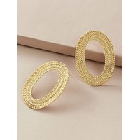 1pair Metallic Braided Hoop Earrings