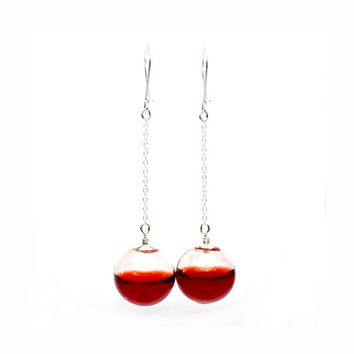 Red round blown glass sterling silver long drop by thestudio8