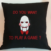 Saw Inspired Embroidered Pillow Case Cover