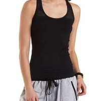 Black Racerback Mesh Cut-Out Tank Top by Charlotte Russe