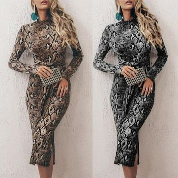 New women's serpentine print long-sleeved sexy slim dress with hips