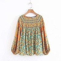 Dusty Yellow  Turqouise Dreams Bohemian Gypsy Bell Sleeve Blouse & Skirt