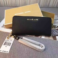 Michael Kors Jet Set Saffiano Leather Travel Wallet Wristlet black sales.