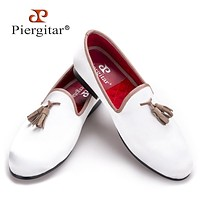 New white sequined cloth shoes with brown tassel fashion handmade men wedding and party shoes men dress shoe men's flat