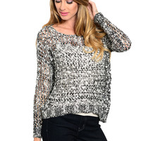 Long Sleeve Open Cable Knit Pull Over Sweater