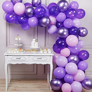PartyWoo Purple Balloons, 70 Pcs 12 Inch Pastel Purple Balloons, Lilac Balloons, Violet Balloons, Purple Metallic Balloons for Purple Party Decorations, Purple Birthday Decorations, Purple Baby Shower