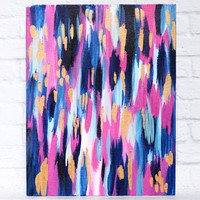 Golden Rain - 11x14 Pink, navy and gold abstract painting on a canvas panel - gold art, bright abstract, bold painting, original painting