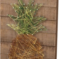 Welcome - Pineapple String Art Plank Board Box Sign - 18-in