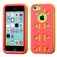 MYBAT Aztec Armor Hybrid Case for iPhone 5C - Baby Red/Yellow