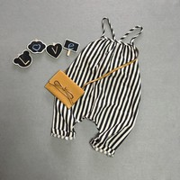 Neutral Summer striped overalls
