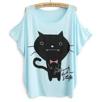 Cute Kitty Strapless Loose T-shirt