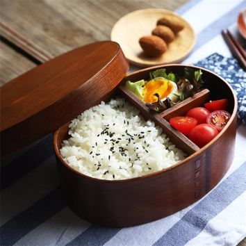 Traditional Lunch Box Natural Wooden Box Square Three Grid Wood Bento Box Student Package Box Sushi Case