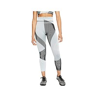 Nike Women's Sculpt Icon Clash 7/8 Seamless Training Tights Teal Black