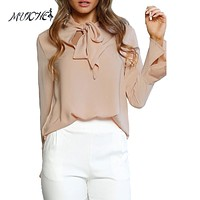 MUICHES Women Blouse 2017 Autumn Chiffon Blouse Elegant Tops Long Sleeve Shirts With Bow Tie Office Lady Wear Female Tops