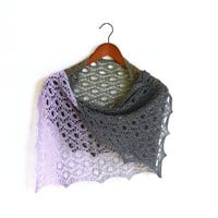 Knit shawl, lace shawl with gradient lilac and grey colors, cotton wrap, gift for her