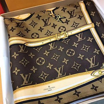 LV x Supreme Silk Scarf Louis Vuitton Women Silk Kerchief Cape Scarf Scarves
