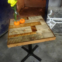 Salvaged scrap wood cafe tables by RecycledBrooklyn on Etsy