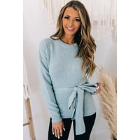 Connect With You Belted Sweater (Light Blue)