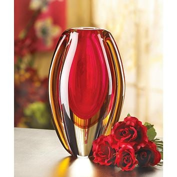 Red and Gold Sunfire Glass Vase