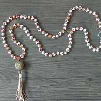-Natural Agate / Crystal Beads / Prayer Meditation Beads /Tassel necklace Spiritual Yoga Jewelry women long necklaces