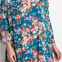 Umgee Jade Floral Dress Trapeze Swing Cut Boho Chic Bell Sleeve Tunic-Plus