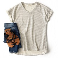 Gray Pinstripe V-Neck Top