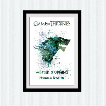 House Stark watercolor print Game of Thrones art poster Game of Thrones decor Home decoration Kids room wall art Nursery room decor W617