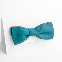 Self tie bow tie, teal green - double sided