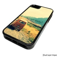 Apple iPhone 5 or 5S Lets Run Away Vintage Bus Dual Layer Impact Protector Rugged Tough Case Cover Skin Hipster Cute DESIGN BLACK RUBBER SILICONE Teen Gift Vintage Hipster Fashion Design Art Print Cell Phone Accessories