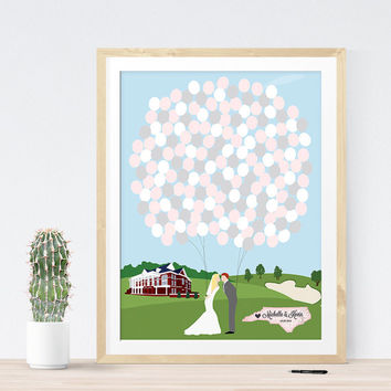 Wedding guest book alternative print with custom illustration, unique wedding Guest sign in board