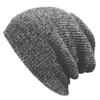 Encounter Mens Stretch Cable Knit Slouch Beanie Skully Ski Hat(Dark Grey)
