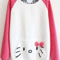 Pink Long Sleeve Polka Dot Bow Pocket Sweatshirt - Sheinside.com