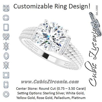 Cubic Zirconia Engagement Ring- The Junio (Customizable 11-stone Design featuring Round Cut Center, Vertical Round-Channel Accents & Wide Triple-Rope Band)