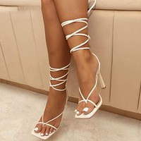Sandals For Women In Pzilae High-heeled Crisscross Sandals And Square Pointed Sandals