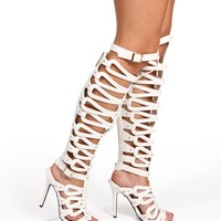 White Tall Caged Heels
