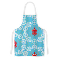 """Miranda Mol """"Frosted White"""" Blue Holiday Artistic Apron"""