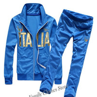 New Arrival 2014 Italy Flag Designer Hoodies Set Men Clothing Styles Active Clothing Men's Fashion Brand Free Shipping SW443